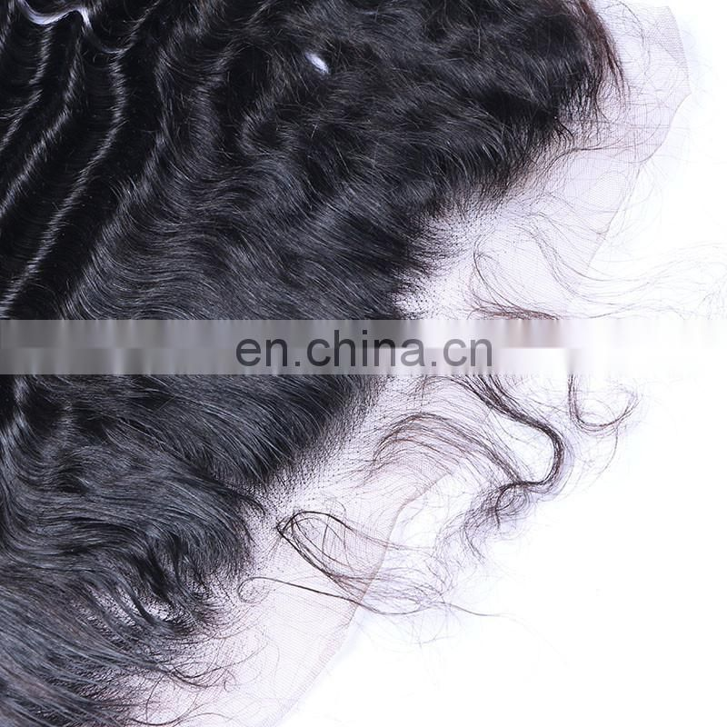 Fashion lace frontal virgin hair raw unprocessed brazilian deep wave hair closure lace frontal