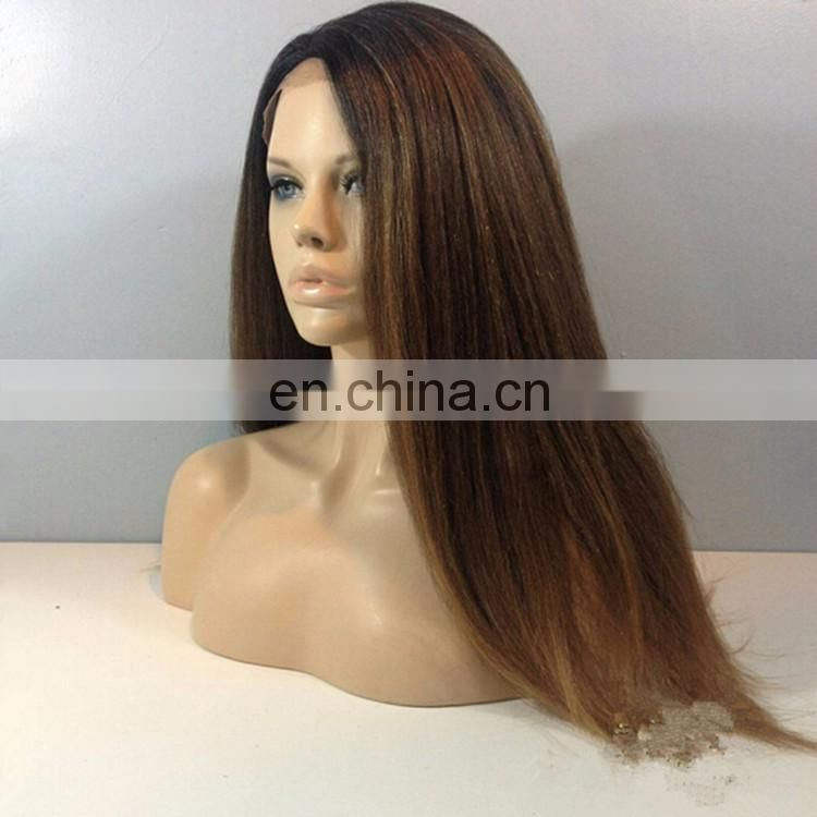 New Arrival Yaki Human Hair Wig #4 Color Virgin Malaysian Yaki Straight Hair Lace Front Wig With Baby Hair