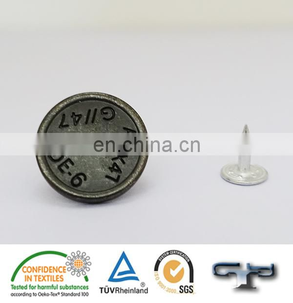 Eco-friendly text engraving jeans denim metal buttons