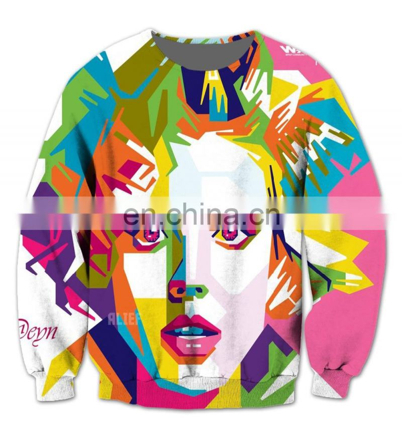 Real USA Size 3D Sublimation Print Hoodie Crewneck Sweatshirt Lady Gaga fleece streetwear plus size Women clothing