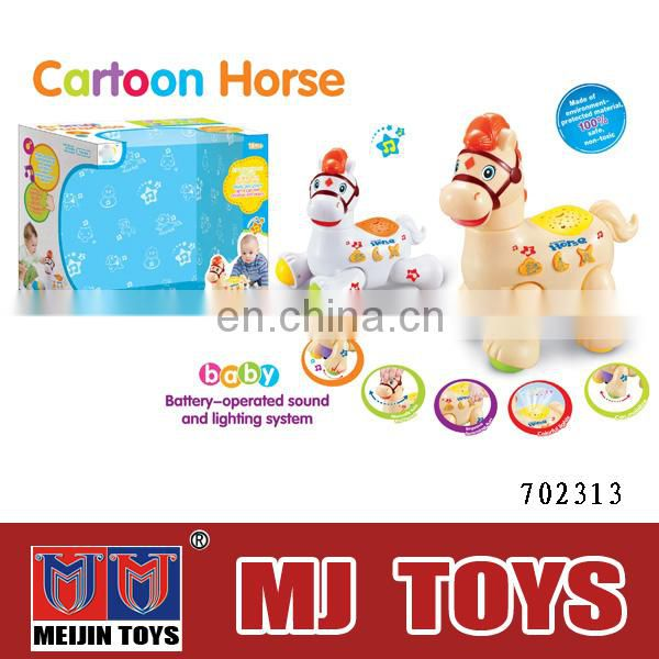 Battery operated zoo animals plastic toy Plastic horse toy with music and light