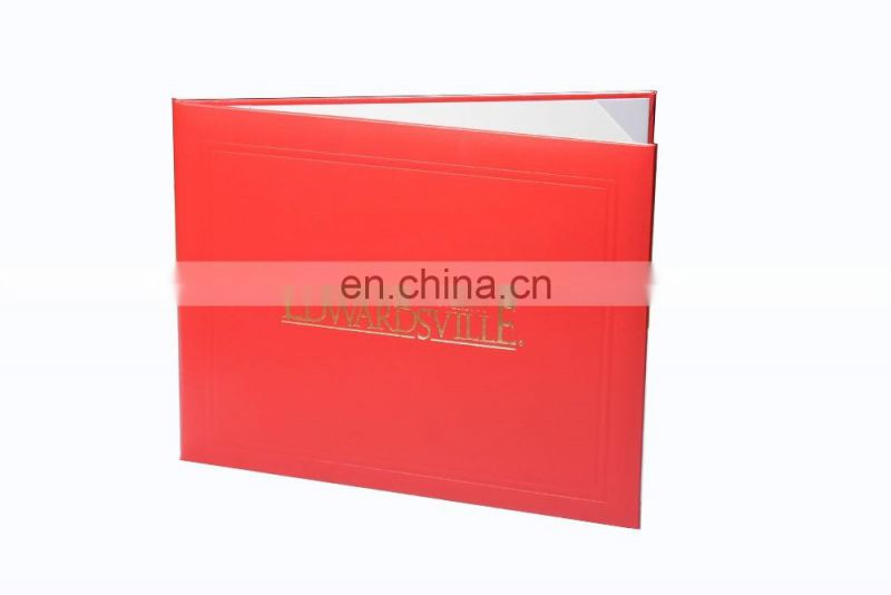 Red Handmade Leatherette embossed line Diploma Cover