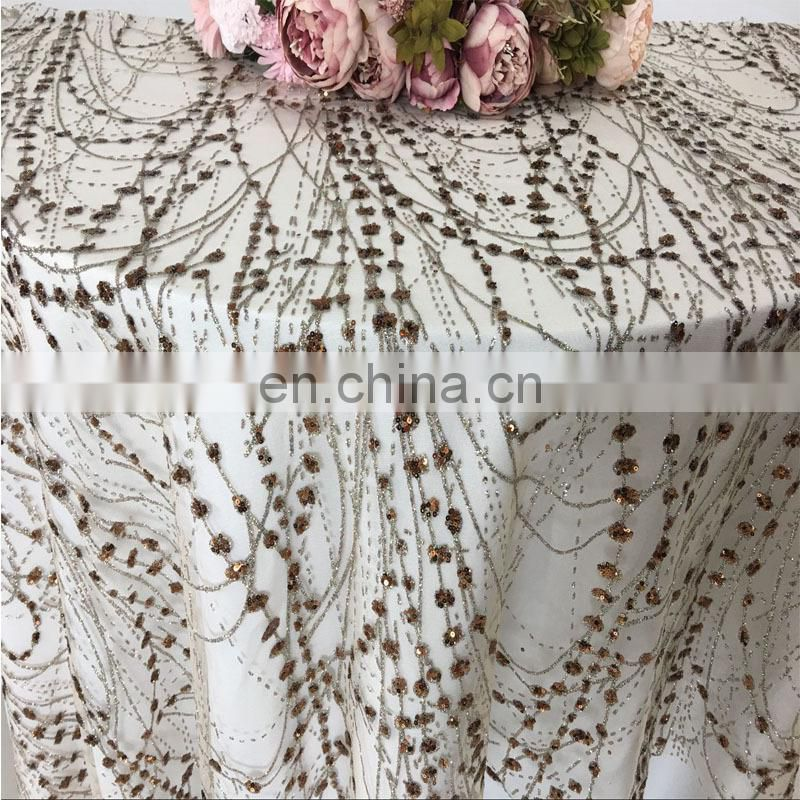 TC226A sequin table cloth new fabric painting designs abstract fabric painting designs