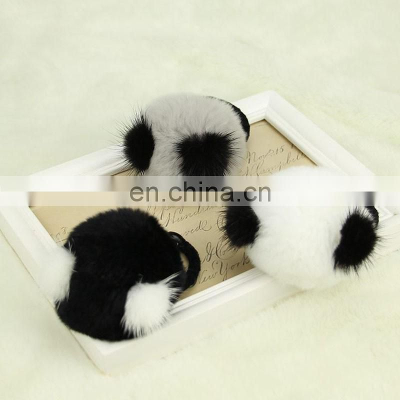 Popular top grade genuine rabbit fur ball elastic for women decoration