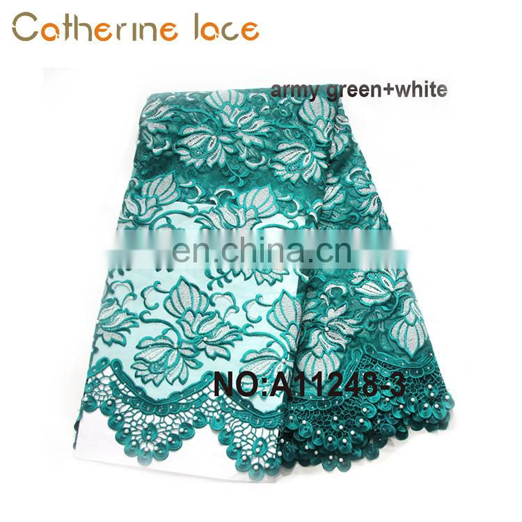 Catherine Made In Fujian Good Quality Green Beaded Embroidery French Lace