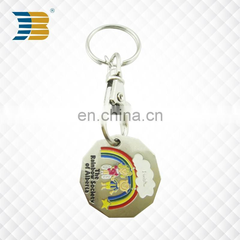 wholesales cheap custom soft enamel round metal trolley coin keychain