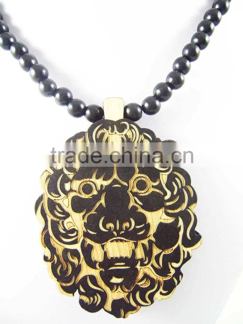 Men's tiger good Pendants Fashion Wood Hip Hop Rosary Chain Beads Necklaces