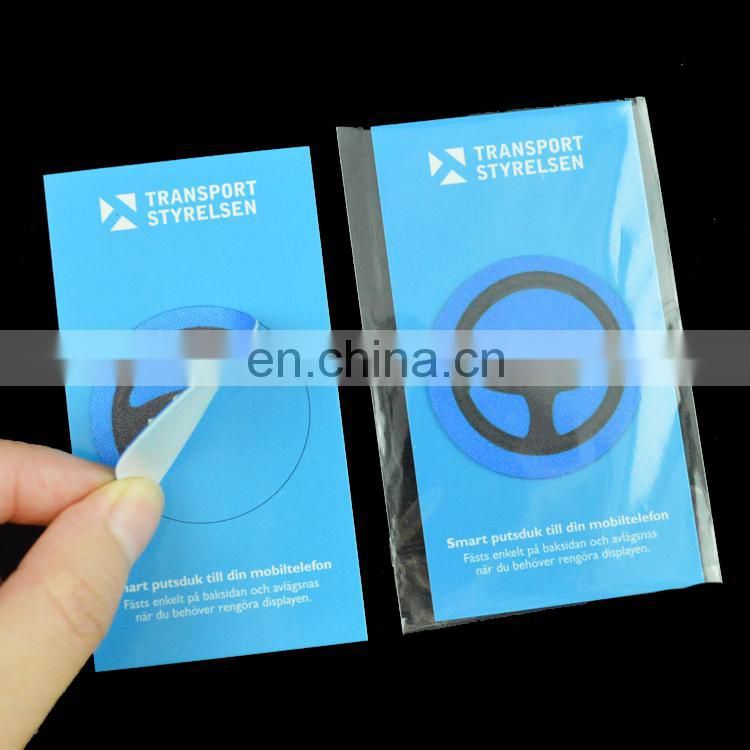 good quality adhesive microfiber sticker cell phone cleaner
