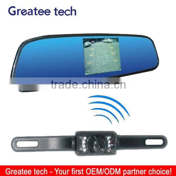 car wireless reversing camera with rearview mirror monitor