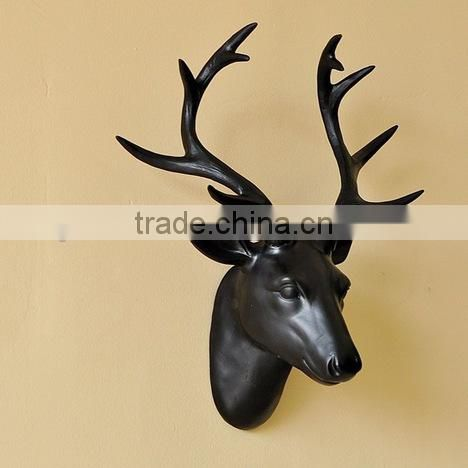 Home Wall Decorative Antique Deer Head Sculpture Resin Wall Animal Deer Head Sculpture