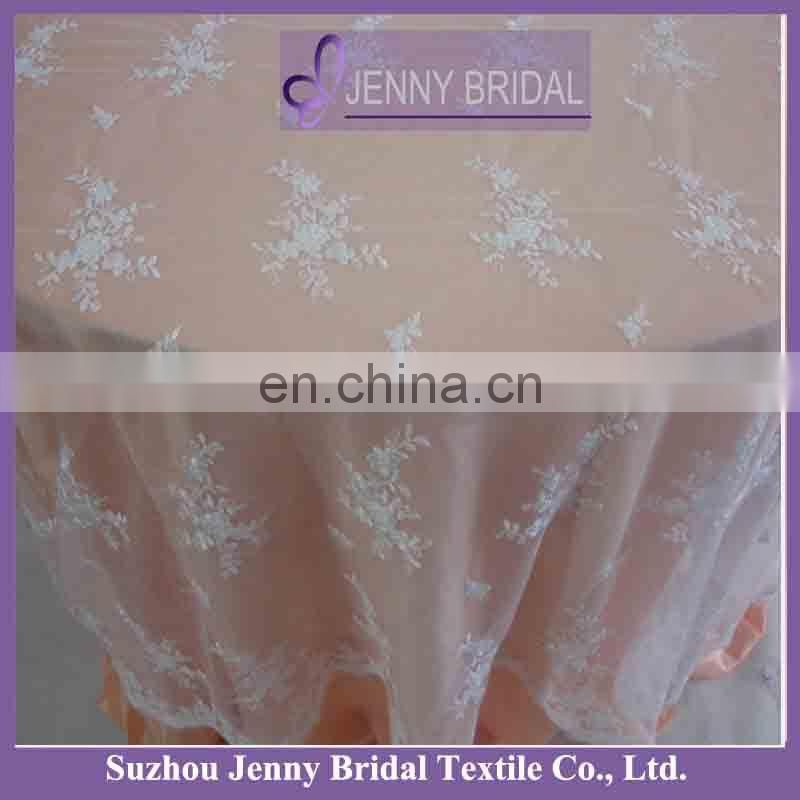 TL002P2 fancy white wedding lace table cloth overlay