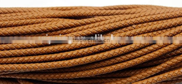 3mm 4mm 5mm Genuine Round Braided Leather Cord For Jewelry, Colored Leather Cord