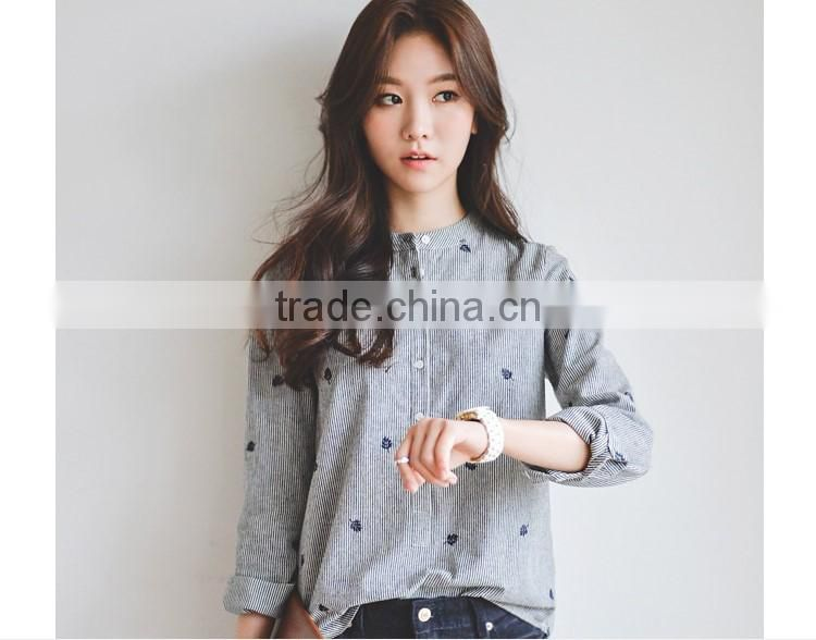 100 cotton comfortable long sleeve leaves Embroidery striped shirts for women stand collar shirts
