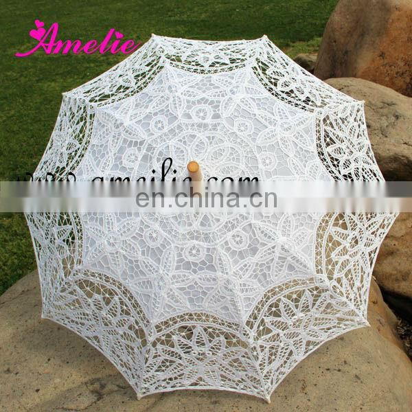 Light Blue Handcrafted Lace Parasols
