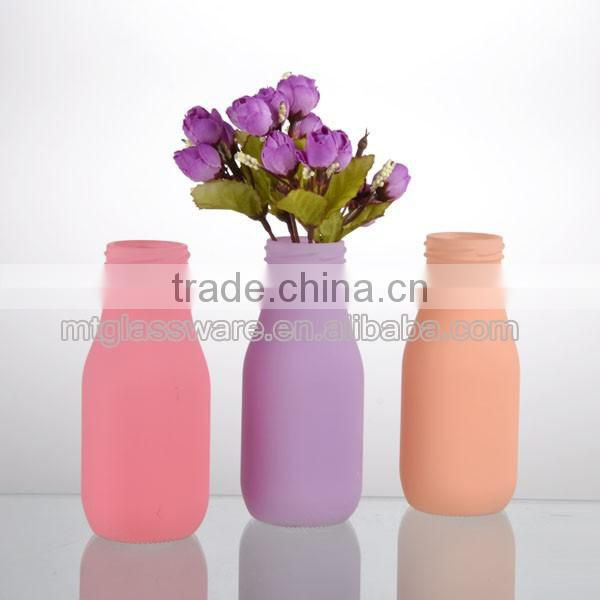 newest 11oz bright candy color milk bottle glass or home decor galss vase