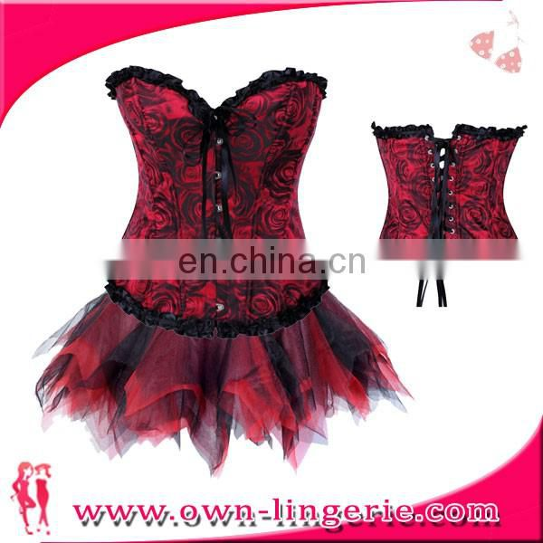 Tight Lacing Corset red Lace sexy Corset Bustier top Slim Body Bow Corset for women