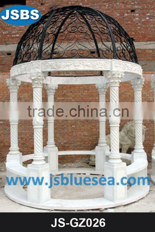 White marble kiosque with pillar and balustrade