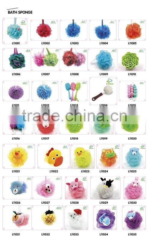 Customized wholesale multicolor body rubbing ball puff mesh loofah shower