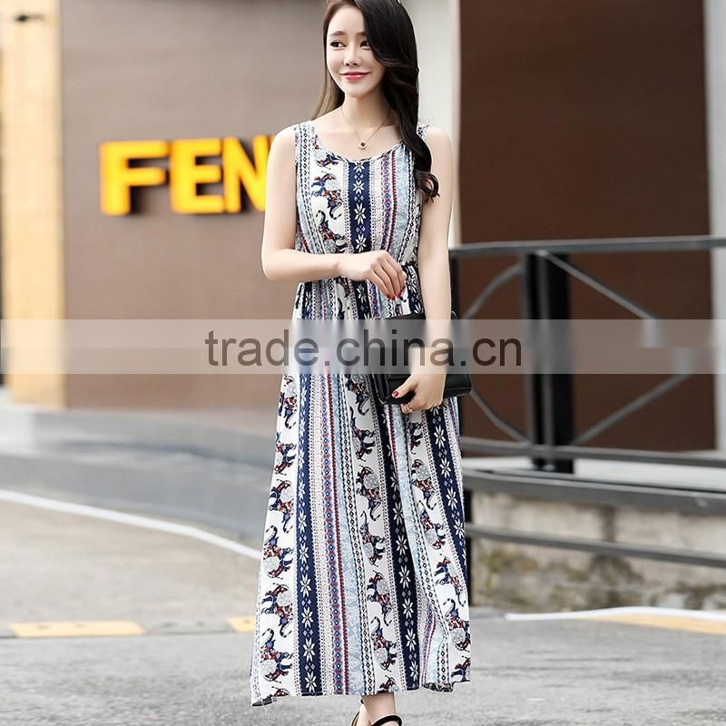 fashion girl's Summer folral printed chiffon Dress Boho Maxi Beach Dress