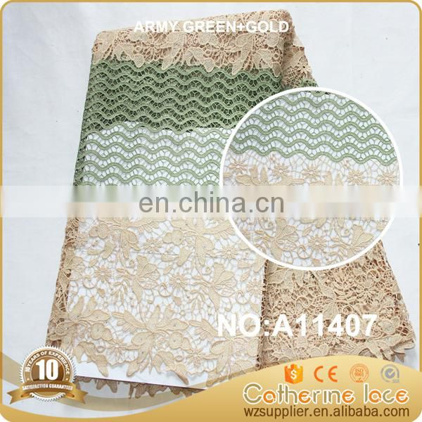 2017 Nigeria gold guipure lace fabric wedding dress embroidered cord guipure lace