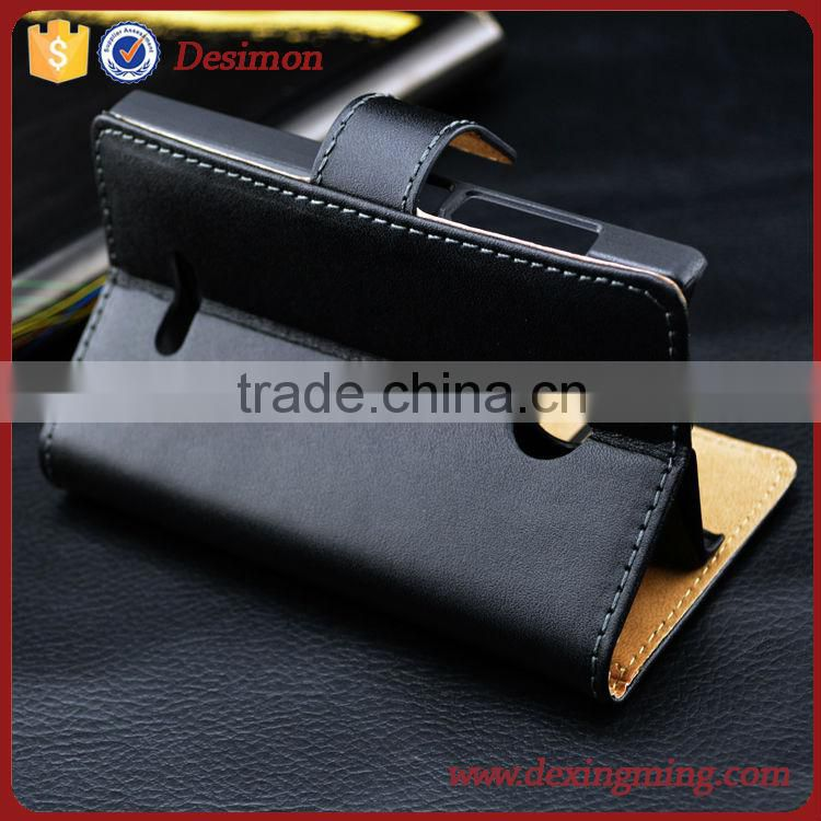Genuine Natural Leather Folio Wallet Stand Case for Micosoft Nokia Lumia 435
