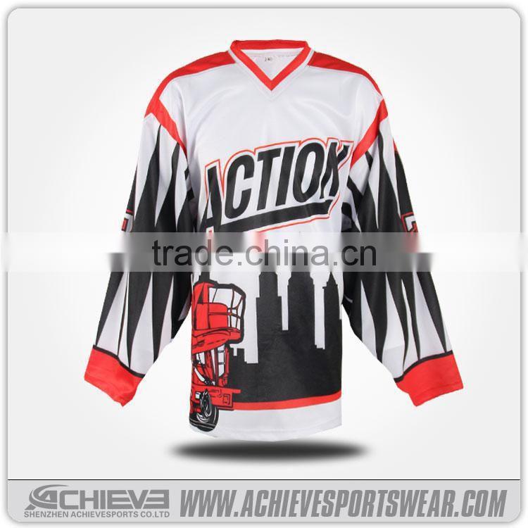 Vintage Custom Print Team Ice Skates Jersey Custom Club Hockey