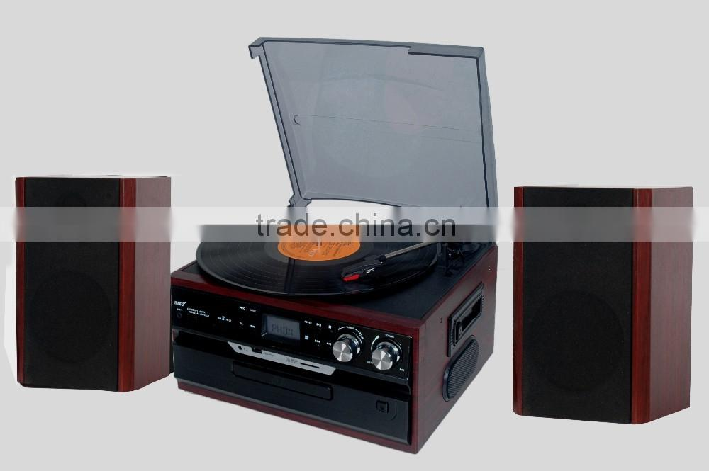 Classic Vintage Design hot-sale record player,usb converter, turntable radio player, cassette converter