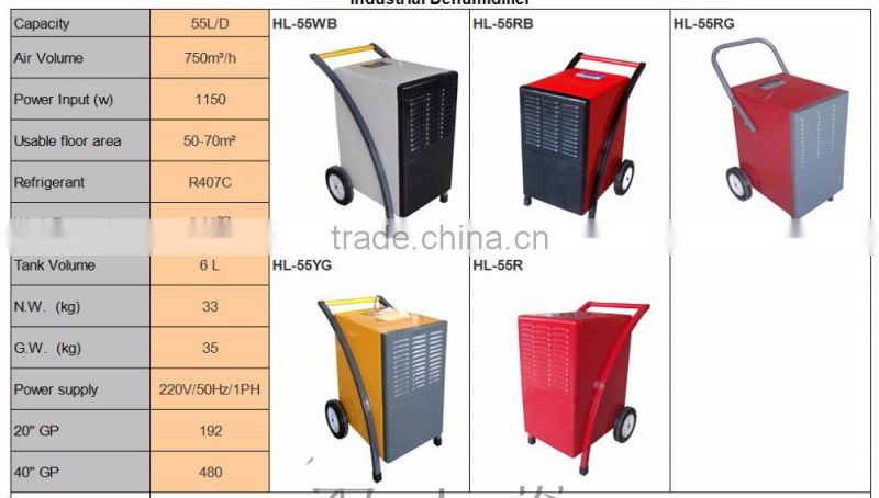 2017 Huali Hot design High Quality 55L industrial dehumidifier with CE