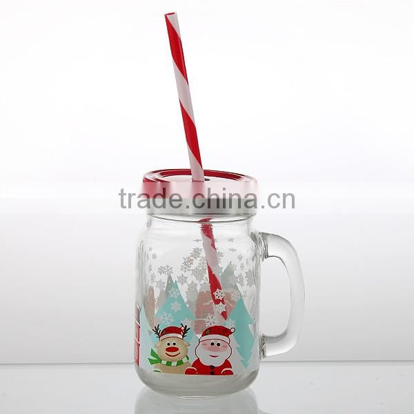 15.5oz fresh cute mason jar with lid straw with handle