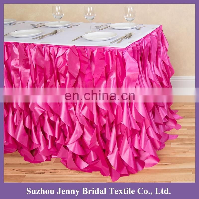 TS017T indian wedding table decorations wedding table skirts party and wedding decoration curly willow table skirting
