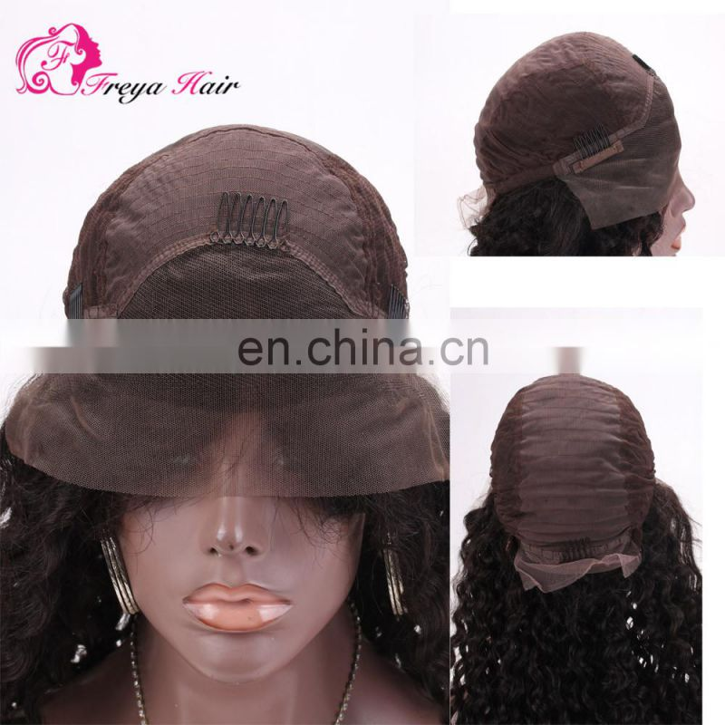 Grade 8a Curly Wave Natural Color For Black Woman Glueless Virgin brazilian Human Hair Wig