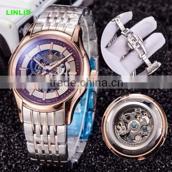 2015 aliexpress best seller skeleton automatic mechanical watches with stainless steel band mens watches water resistant