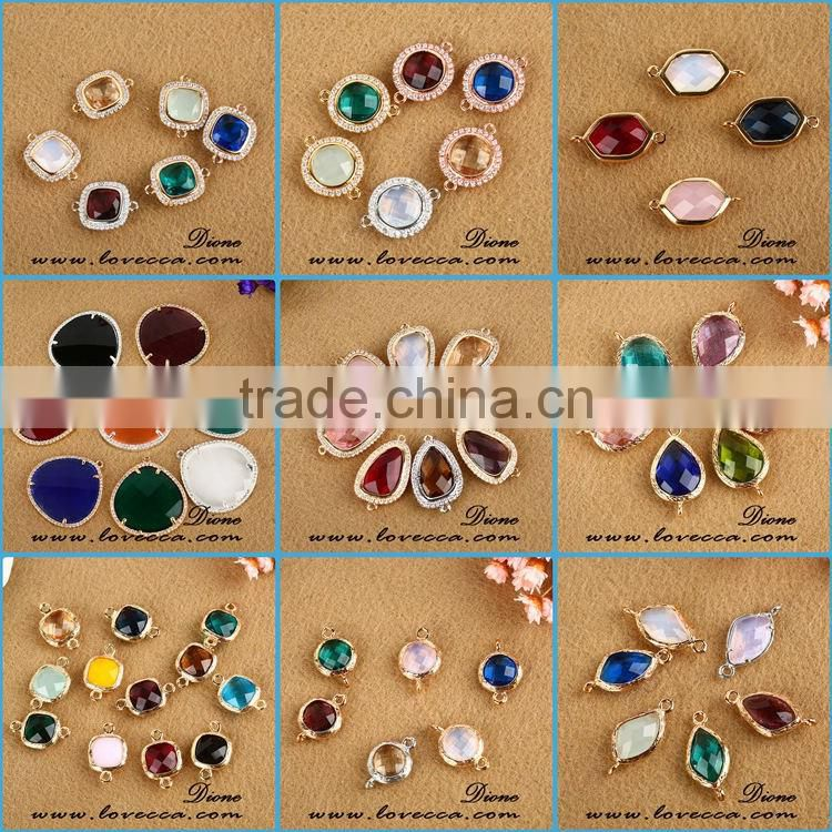 wholesale fashion various colors glass faceted birthstone pendant