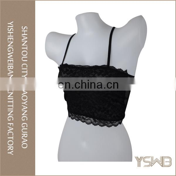 Wholesale lady comfortable black lace straps hot sexy boob tube top for women