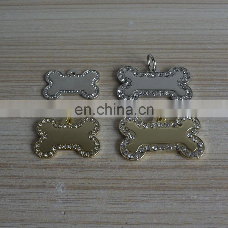Metal Blank Bone Crystal Rhinestone Pet Dog Tags Gold & Silver