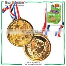 Factory direct promotional cheap plastic gold medal with ribbon