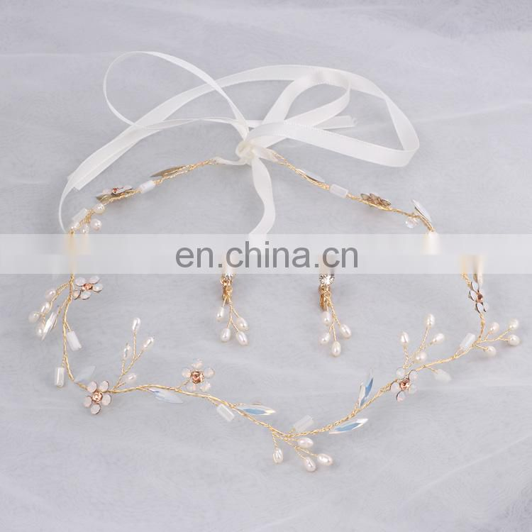 Girl Headdress Freshwater Pearls Bridal Headband Clear Opal Crystal Hair Vine and Earring Set Unique Wedding Favors Hair Jewelry