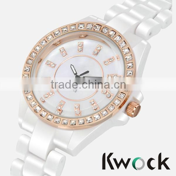 2014 fashion ceramic rose gold bezel tone watches Lady