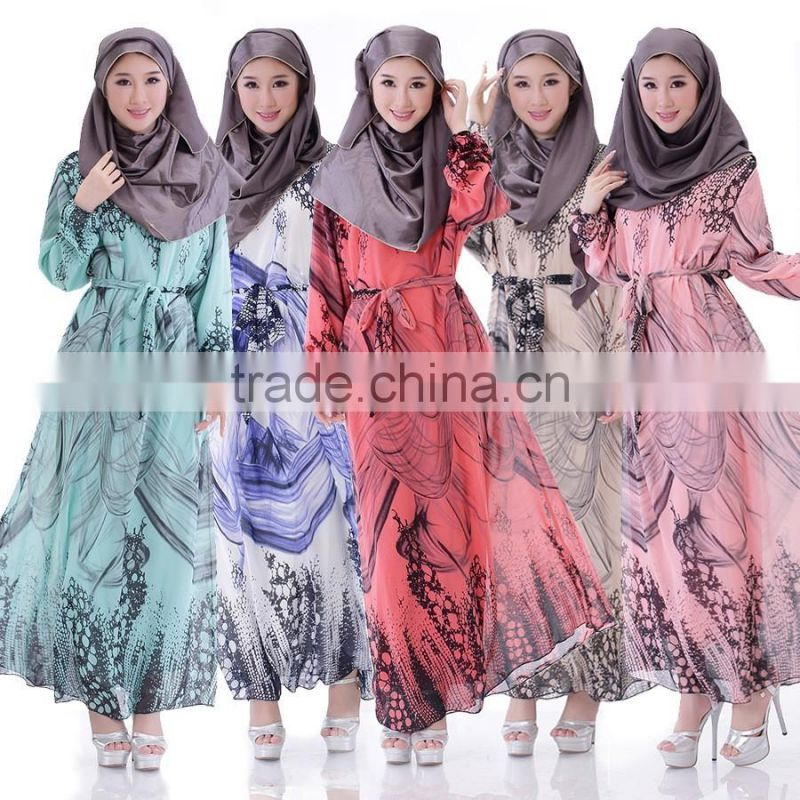 latest design Thailand Indonesia women dress Muslim dress Long sleeve dress