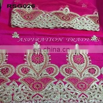 Most popular gold pattern silk fabric with Embroidered Blouse