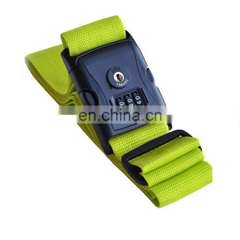 Factory custom adjustable travel luggage belt printed strap with plastic buckle