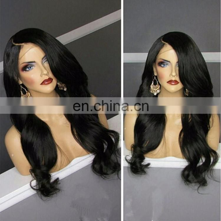 Glueless Natural Black Wavy Lace Front Wig With Side Part Bangds Remy Peruvian Hair Wig With Baby Hair