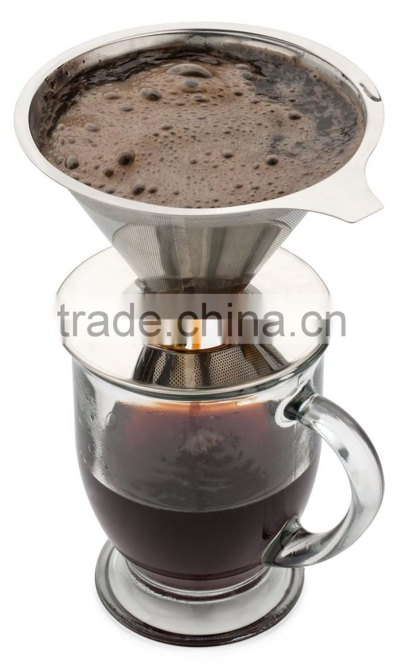 Pour Over Coffee Dripper + Cup Stand, Paperless Filter, Eco-Friendly and Reusable Coffee Maker - Stainless Steel