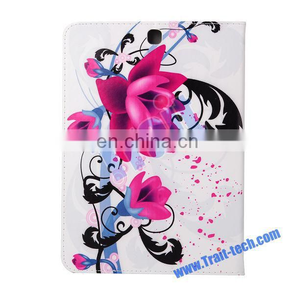 Beautiful Lotus Pattern Card Slots Flip Stand TPU+ PU Leather Case for Samsung Galaxy Tab S2 8.0 T710