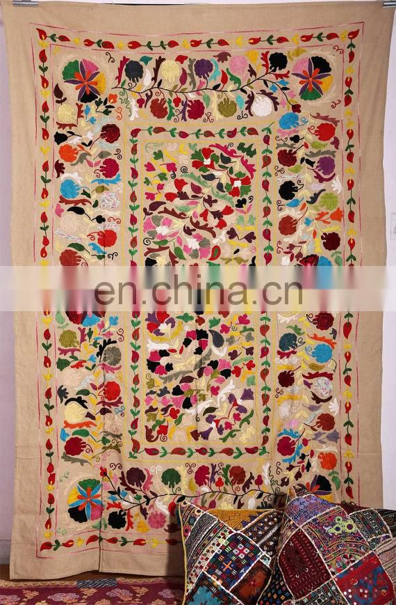Uzbek Suzani Throw Hand Embroidered Suzani Wall Hanging Suzani Bed cover