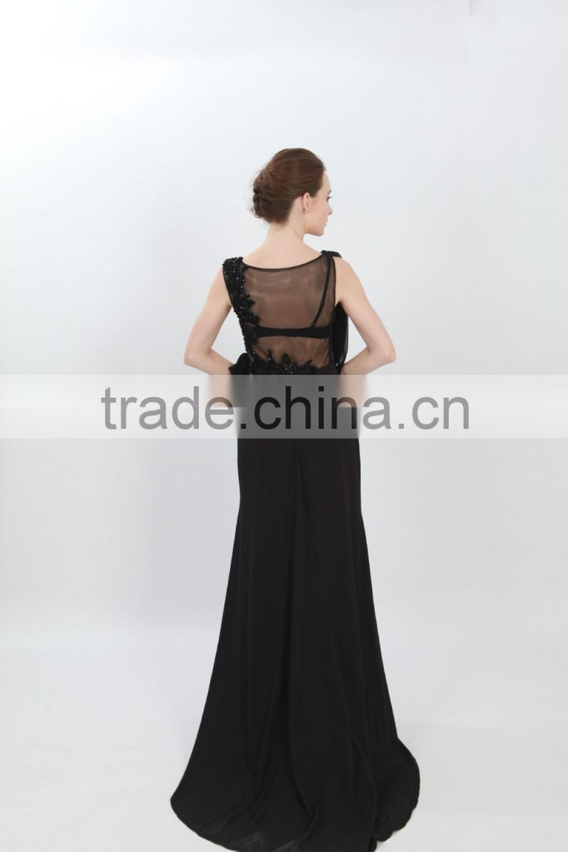 side split long dresses long tail wedding dress flower appliques beaded ruffle prom dress black sleeveless mesh dress