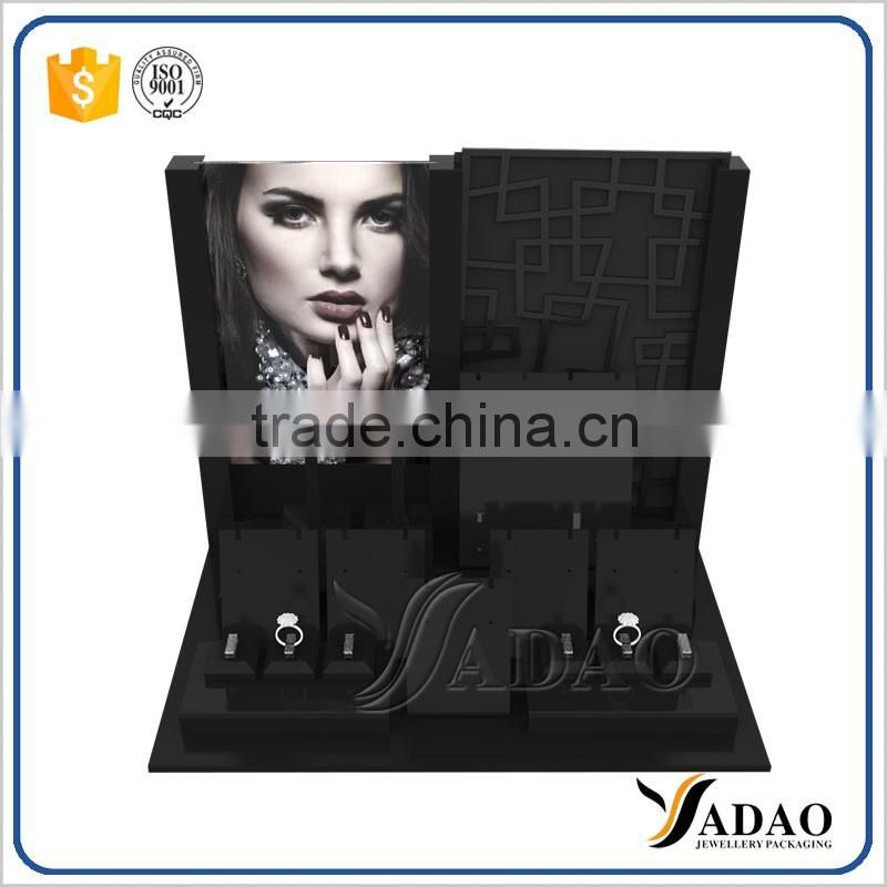 Wholesale manufacturer of exhibitor stands for shop counter and cabinet show black acrylic custom logo jewelry display stand