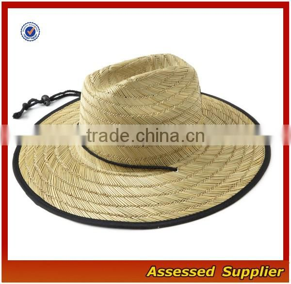 8e954459ca6 ... Australia Men Straw Lifeguard Hat With Adjustable String Summer UV  Protection Surf Straw Hat