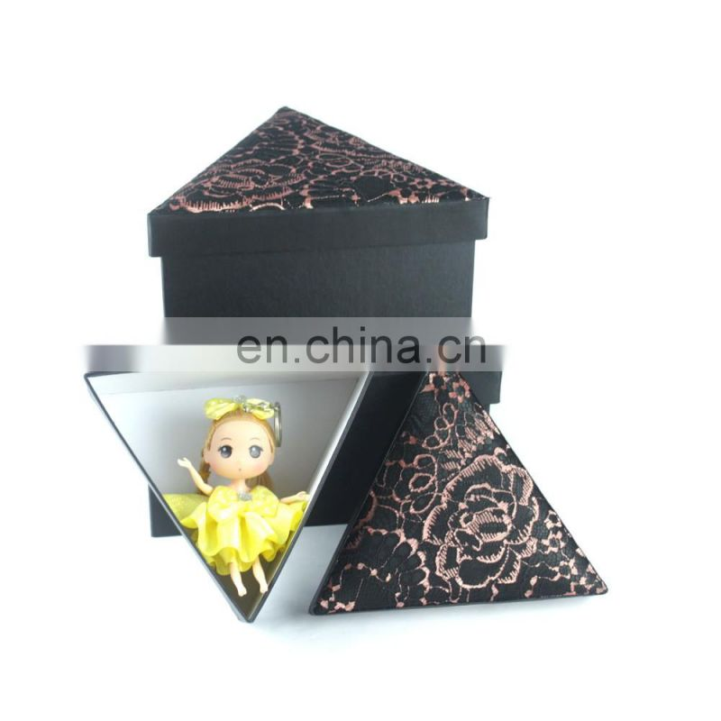 3 in 1 Personalized triangular novel TC fabric toy Daily sundries storage box gift box with lace lid
