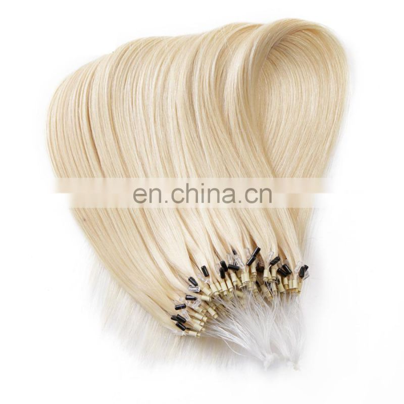Blond Keratin human fusion hair silky straight indian remy micro loop hair extensions